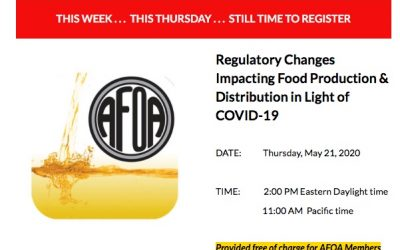 AFOA Webinar THIS WEEK on Reg Changes Impacting Food Production and Distribution