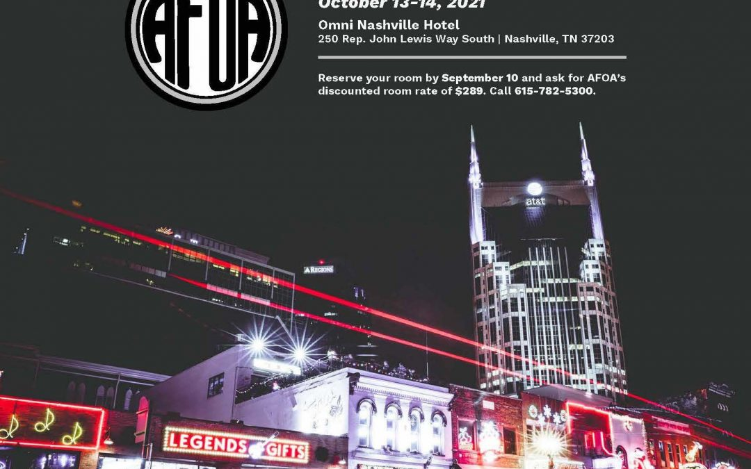 Make Your Hotel Reservations NOW  . . . for AFOA Live from Nashville